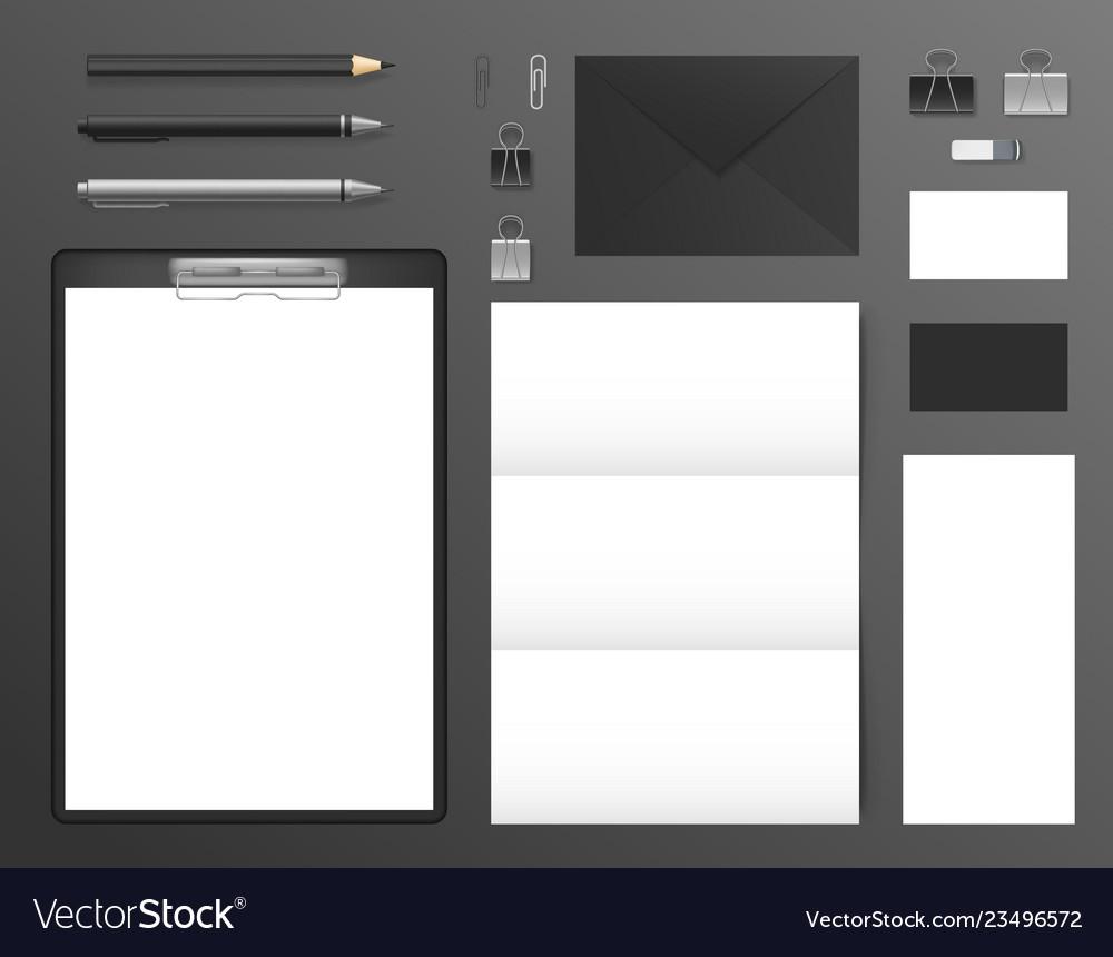 Realistic 3d detailed mockup business brand set