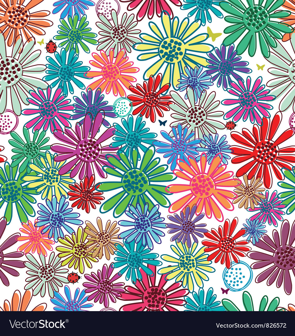 Seamless funny floral background