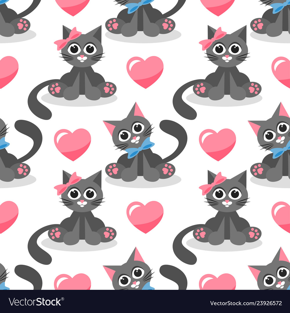 Seamless pattern with cute cats in love