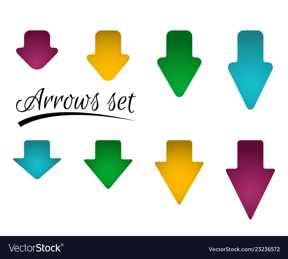 Set of bright different arrows with straight and