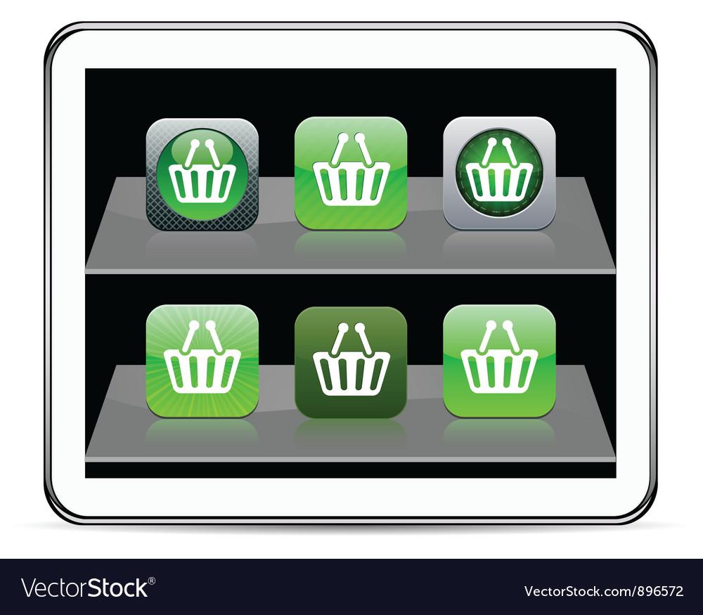 Shopping cart green app icons