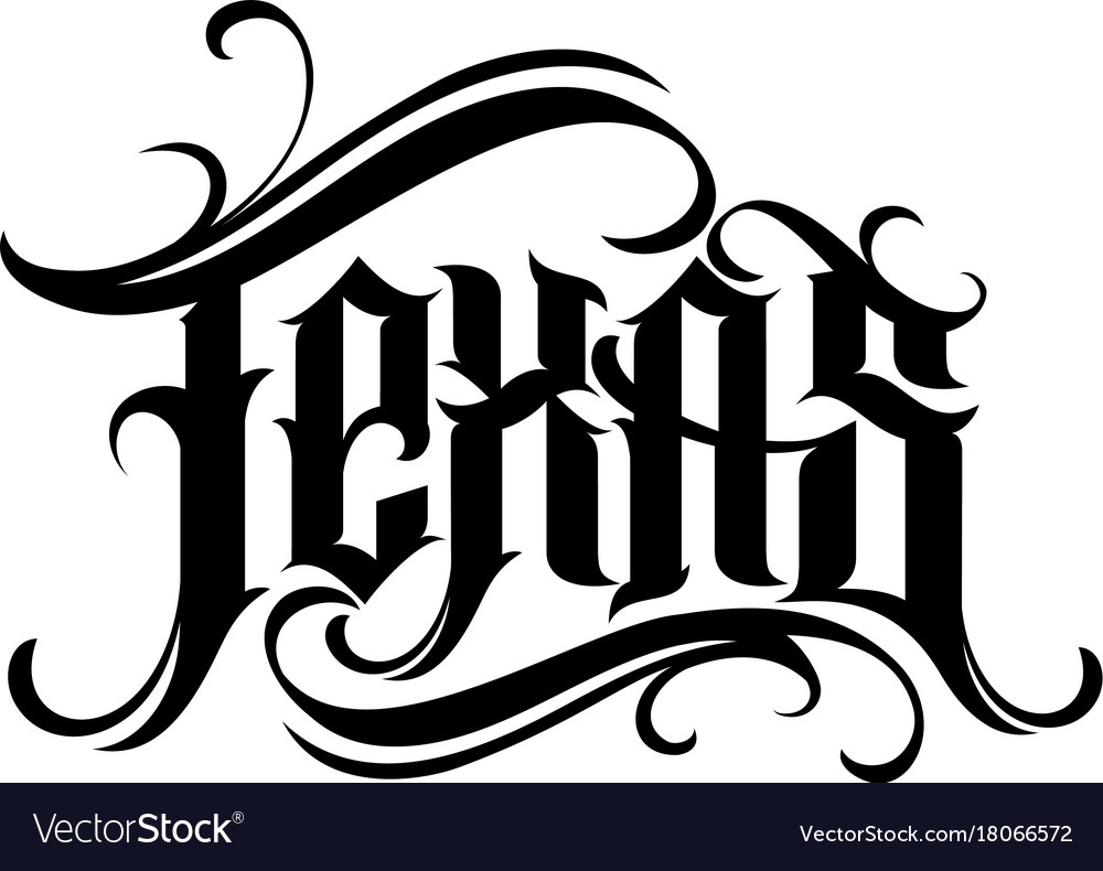 Texas Lettering In Tattoo Style Vector Image
