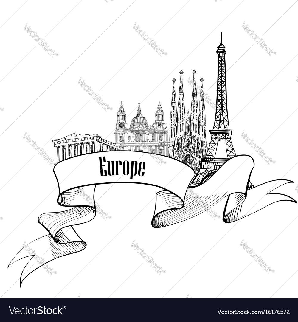Travel europe label famous buildings and