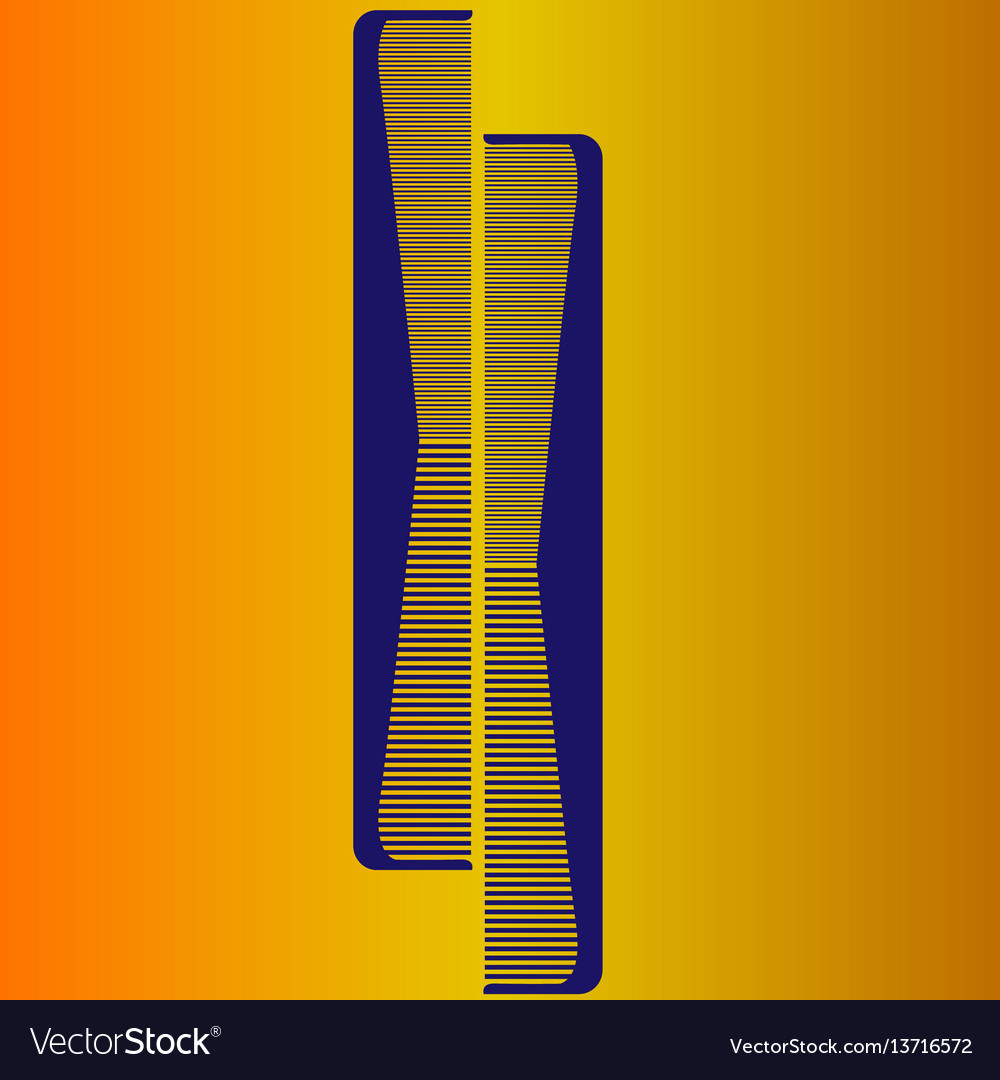 Two blue comb on a yellow background vector image