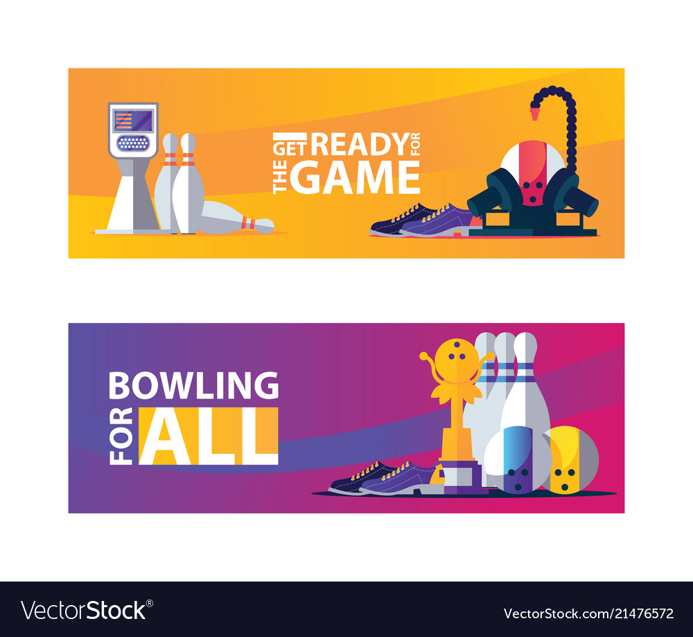 Vivid bowling banners with objects for play pins