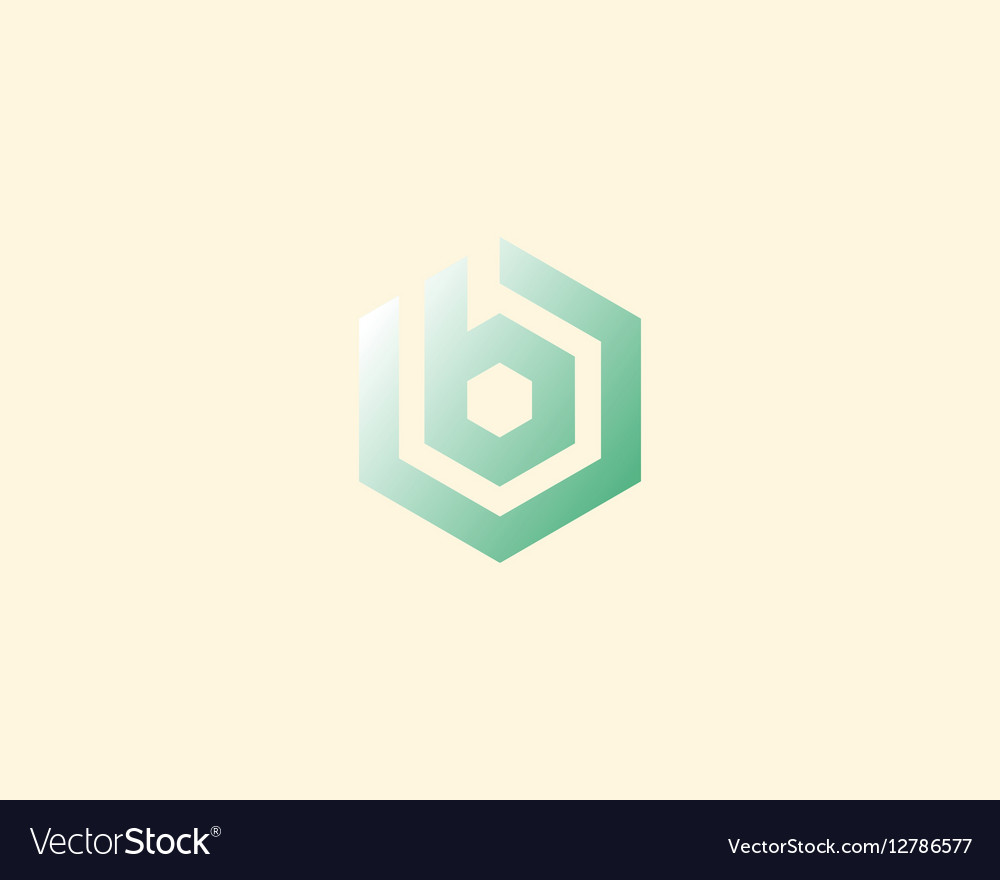 Abstract letter B logotype Line hexagon vector image