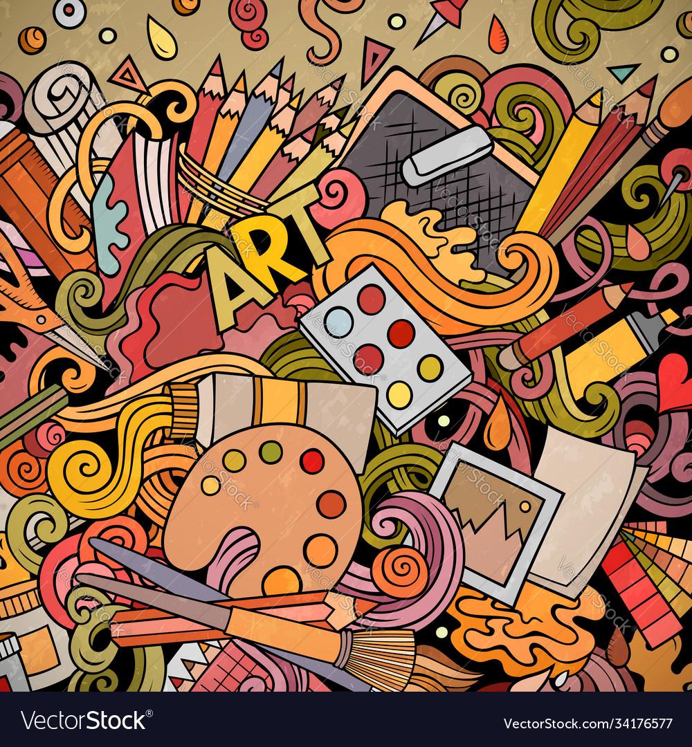 Cartoon doodles art card artistic funny border