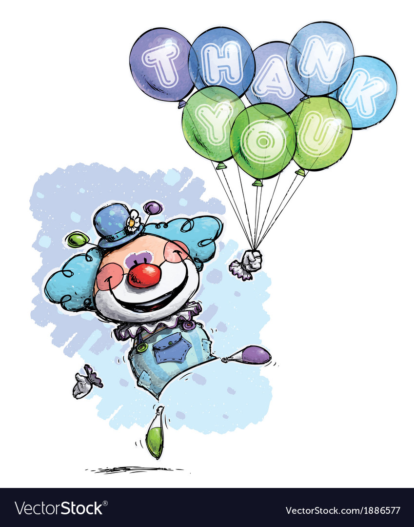 Clown with Balloons Saying Thank You Boy Colors