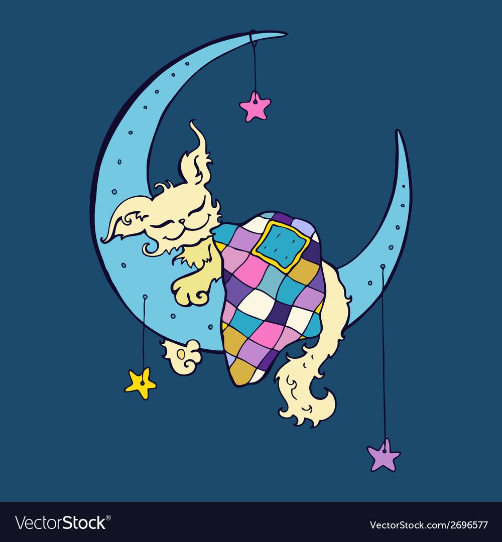 Cute dog sleeps on the Moon