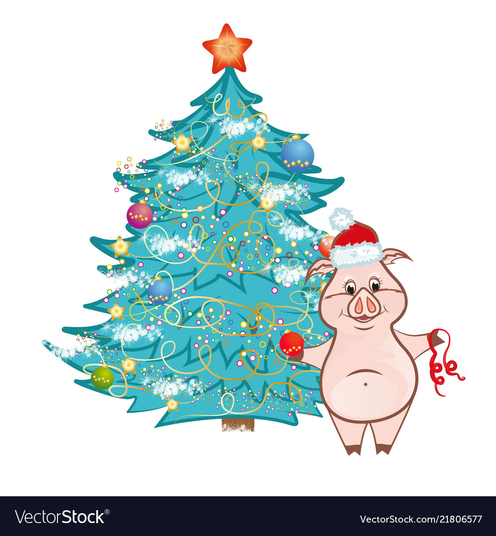 Cute pink pig near christmas tree vector