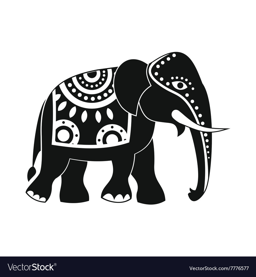 35793ae39c45 Decorated elephant icon simple style Royalty Free Vector