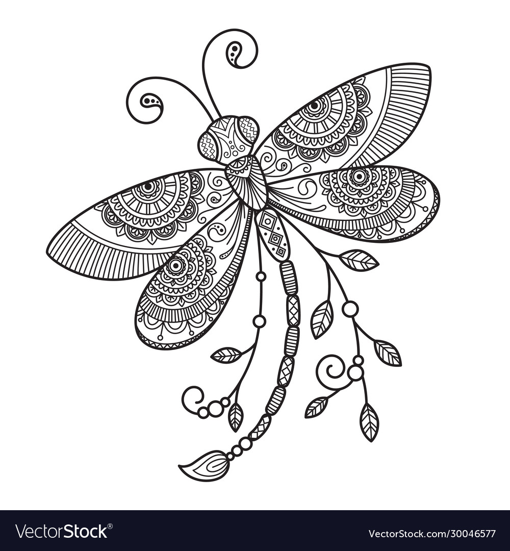- Dragonfly Antistress Doodle Coloring Book Vector Image