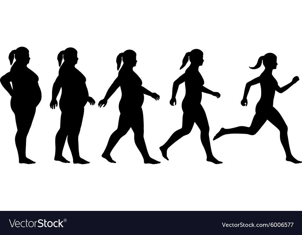 Fat To Fit Woman Royalty Free Vector Image Vectorstock See more ideas about silhouette art, woman silhouette, dancer tattoo. vectorstock