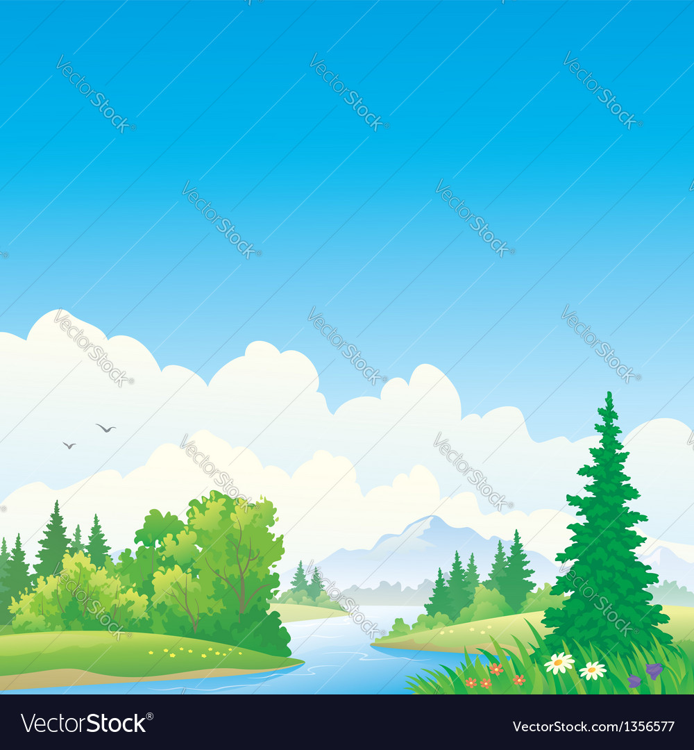 Forest river vector image