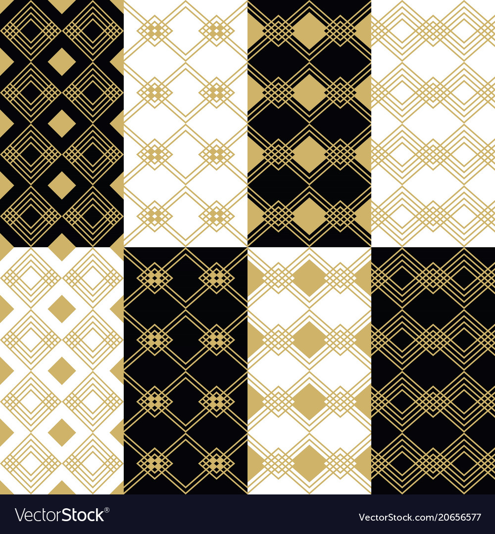 Golden modern art deco square patterns backgrounds