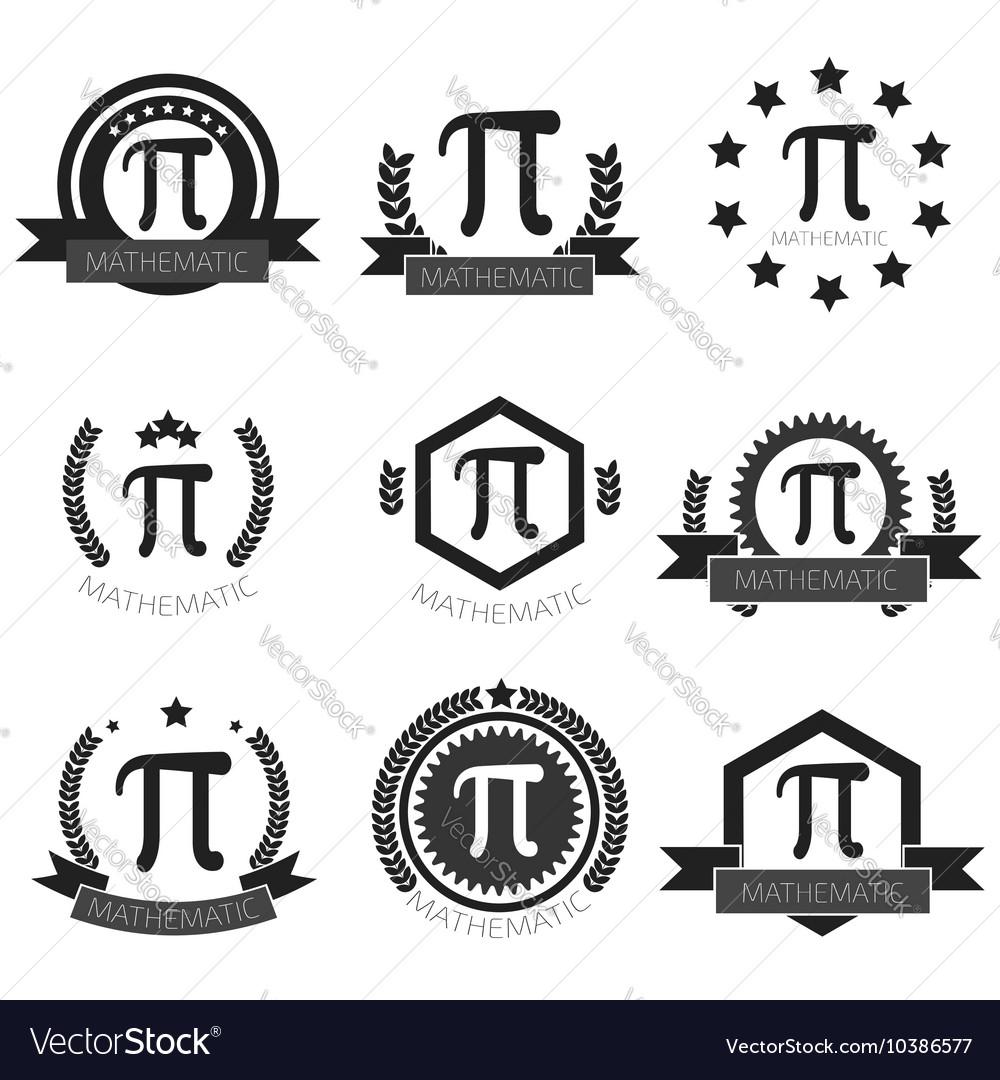 Mathematic Pi logo set Mathematic Pi icons set