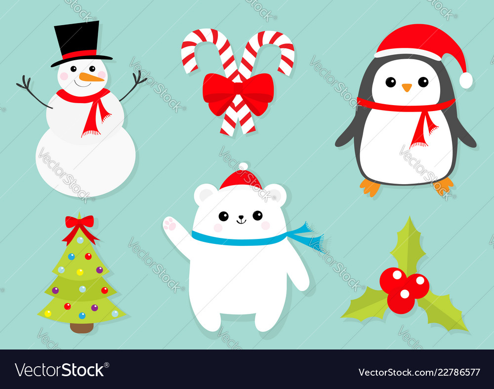 Merry christmas icon set snowman candy cane stick