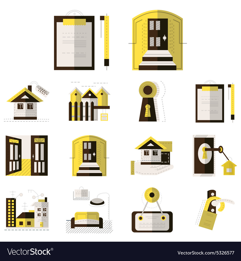 Rental of property flat color icons
