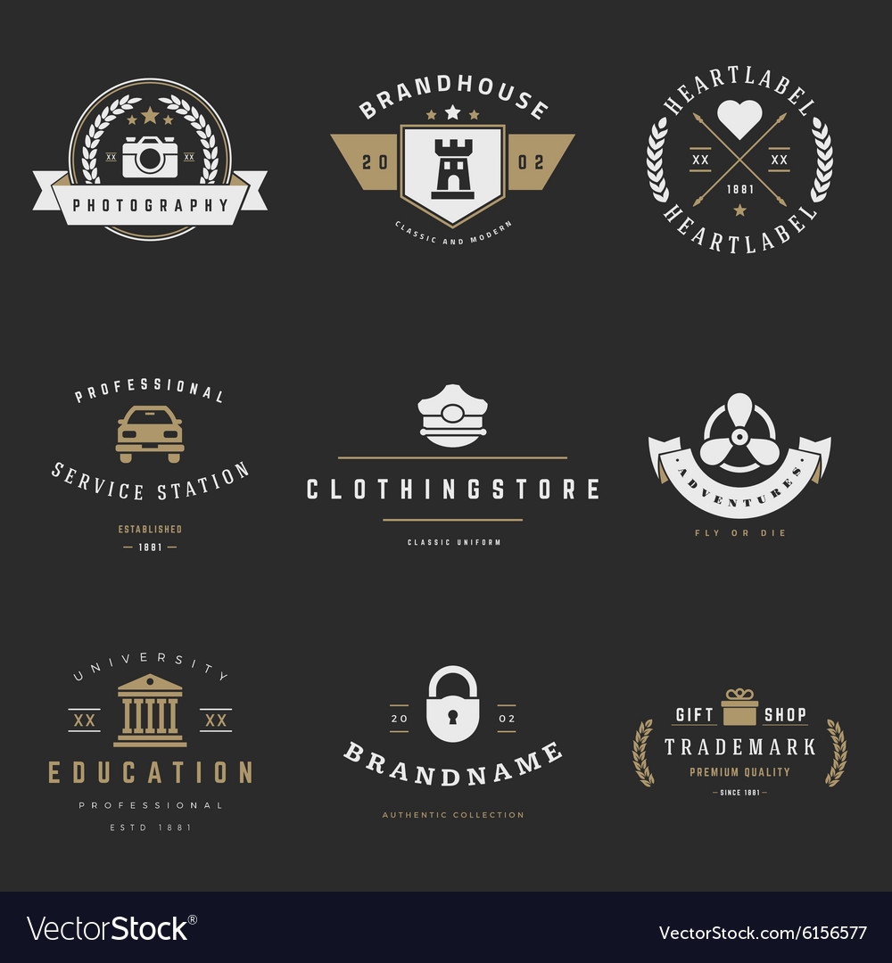 Retro Logotypes set Vintage graphics