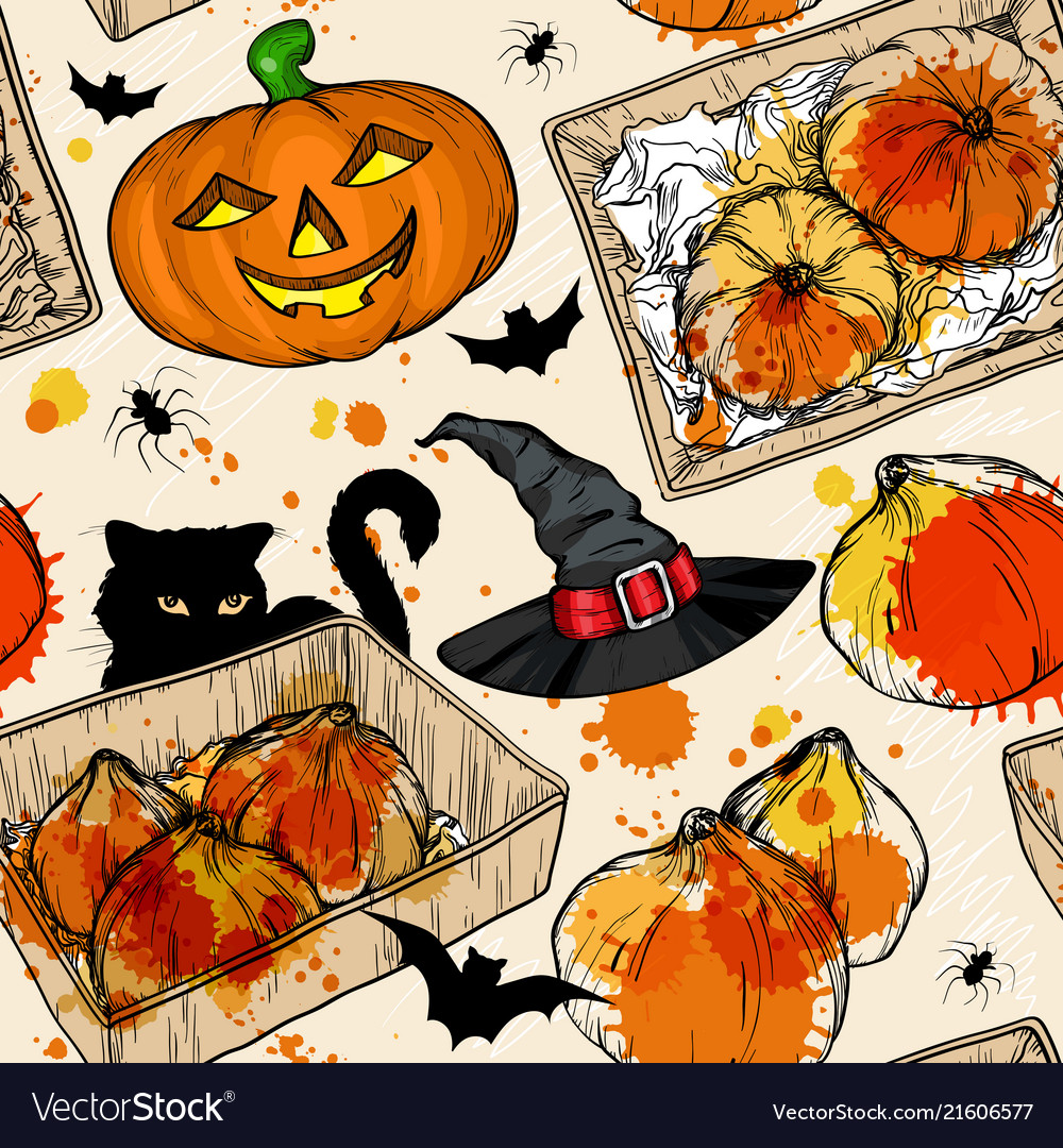 Seamless pattern with halloween set