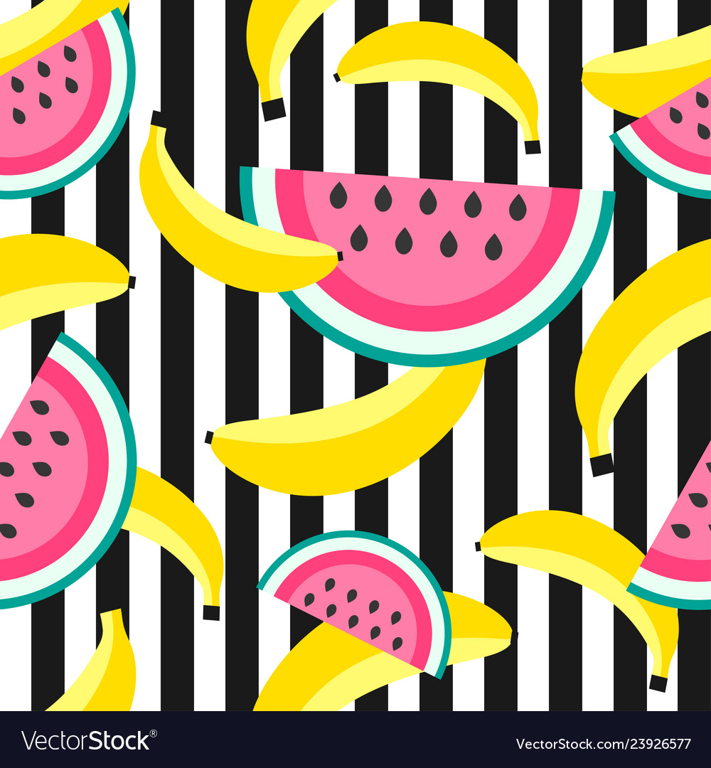 Seamless pattern with sweet bananas and watermelon