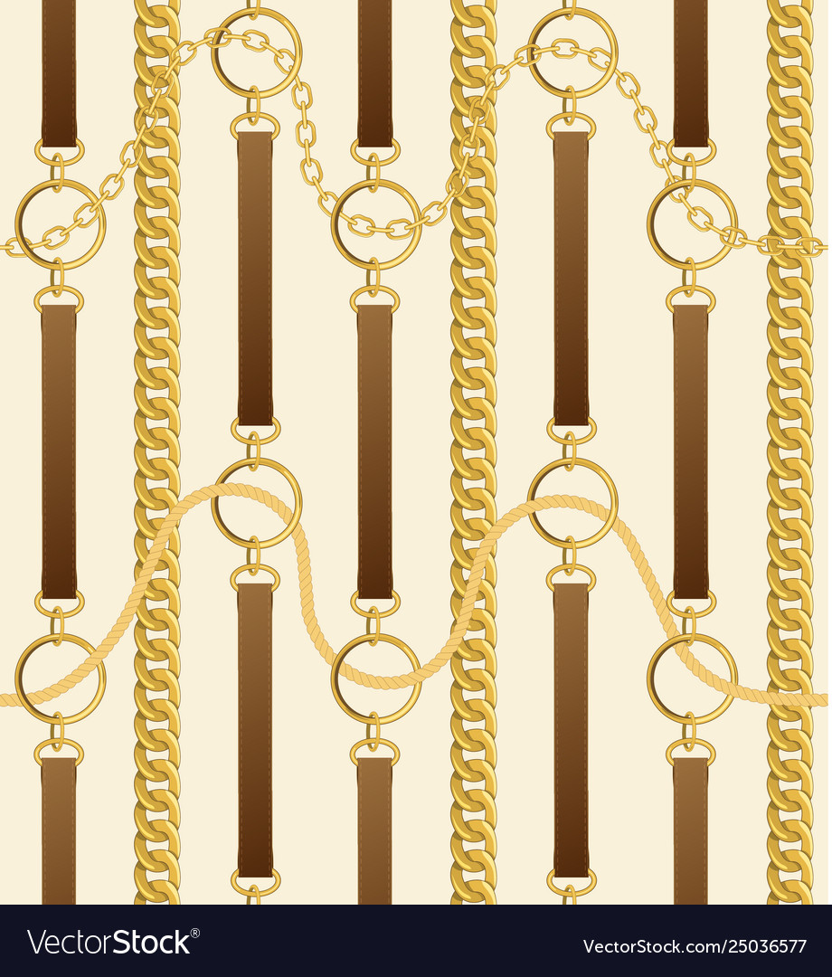 Seamless vintage pattern with chains and belts