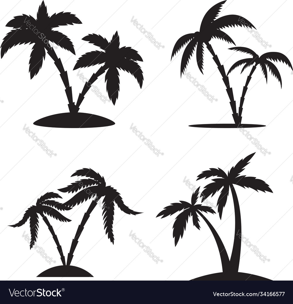 Set silhouettes palm trees isolated