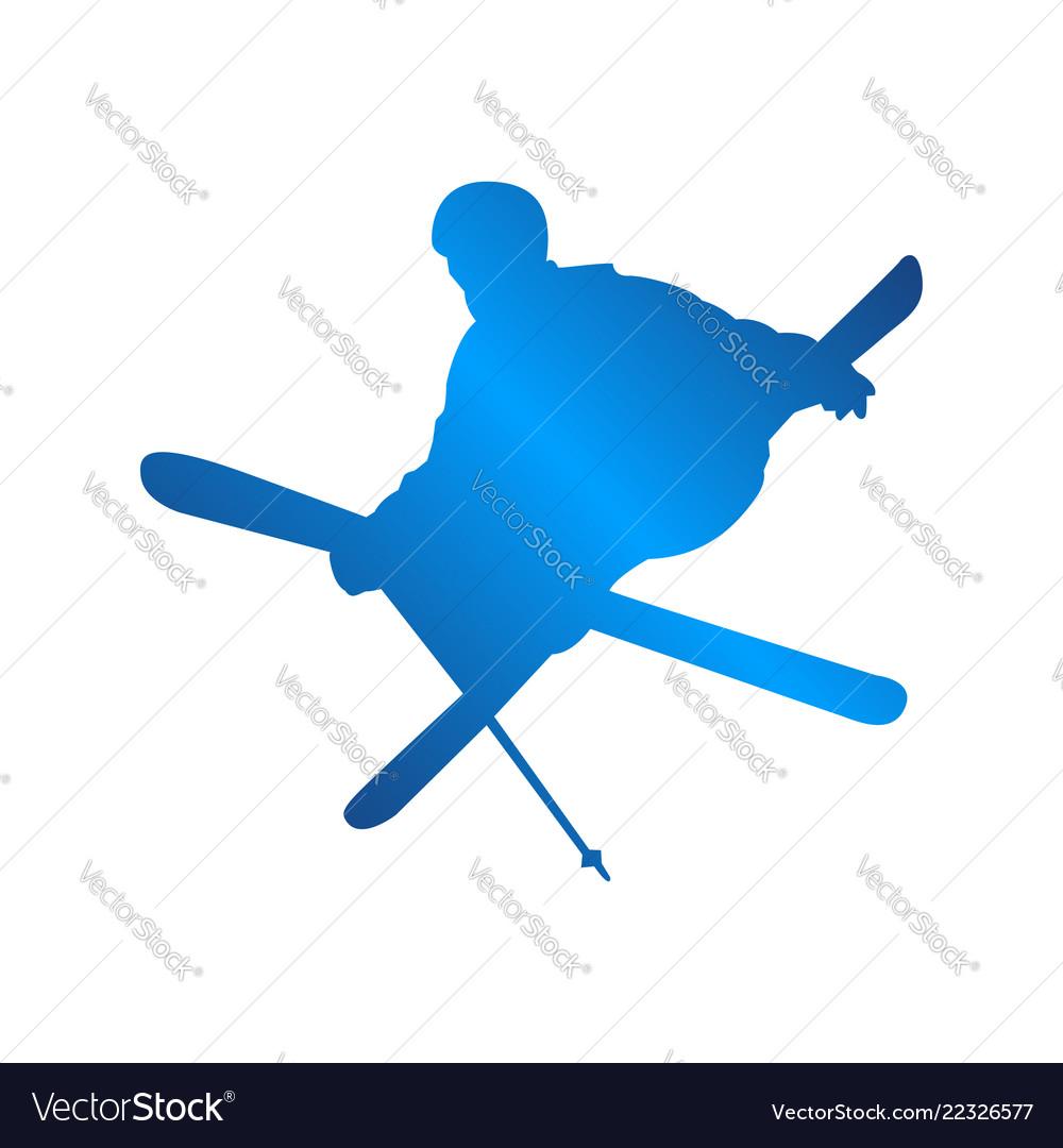 Silhouette blue skiing people logo design