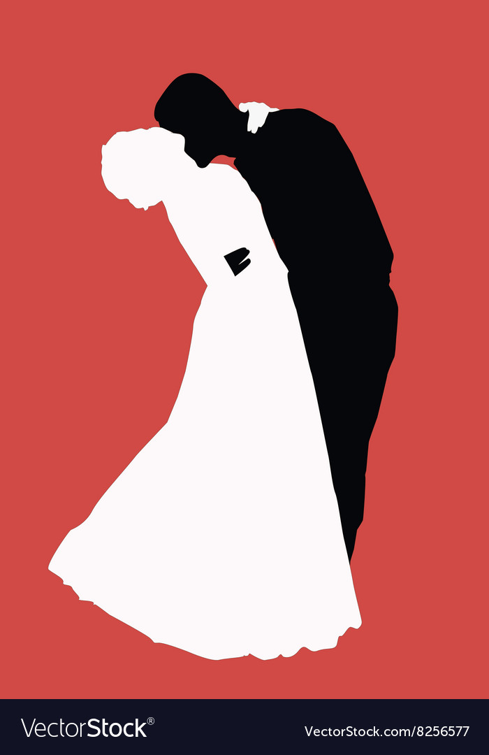 Silhouette newlyweds vector image