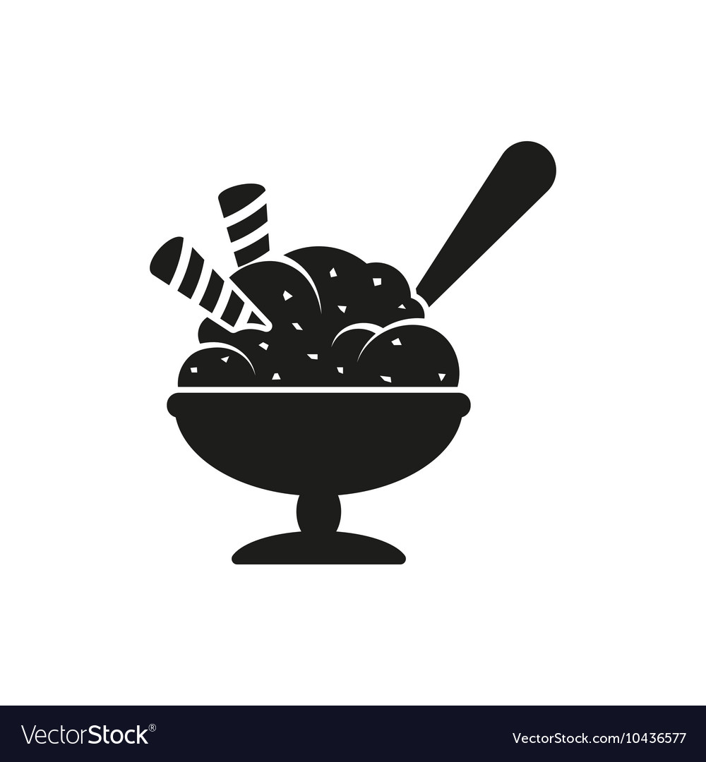 Simple black Ice cream in bowl with spoon style