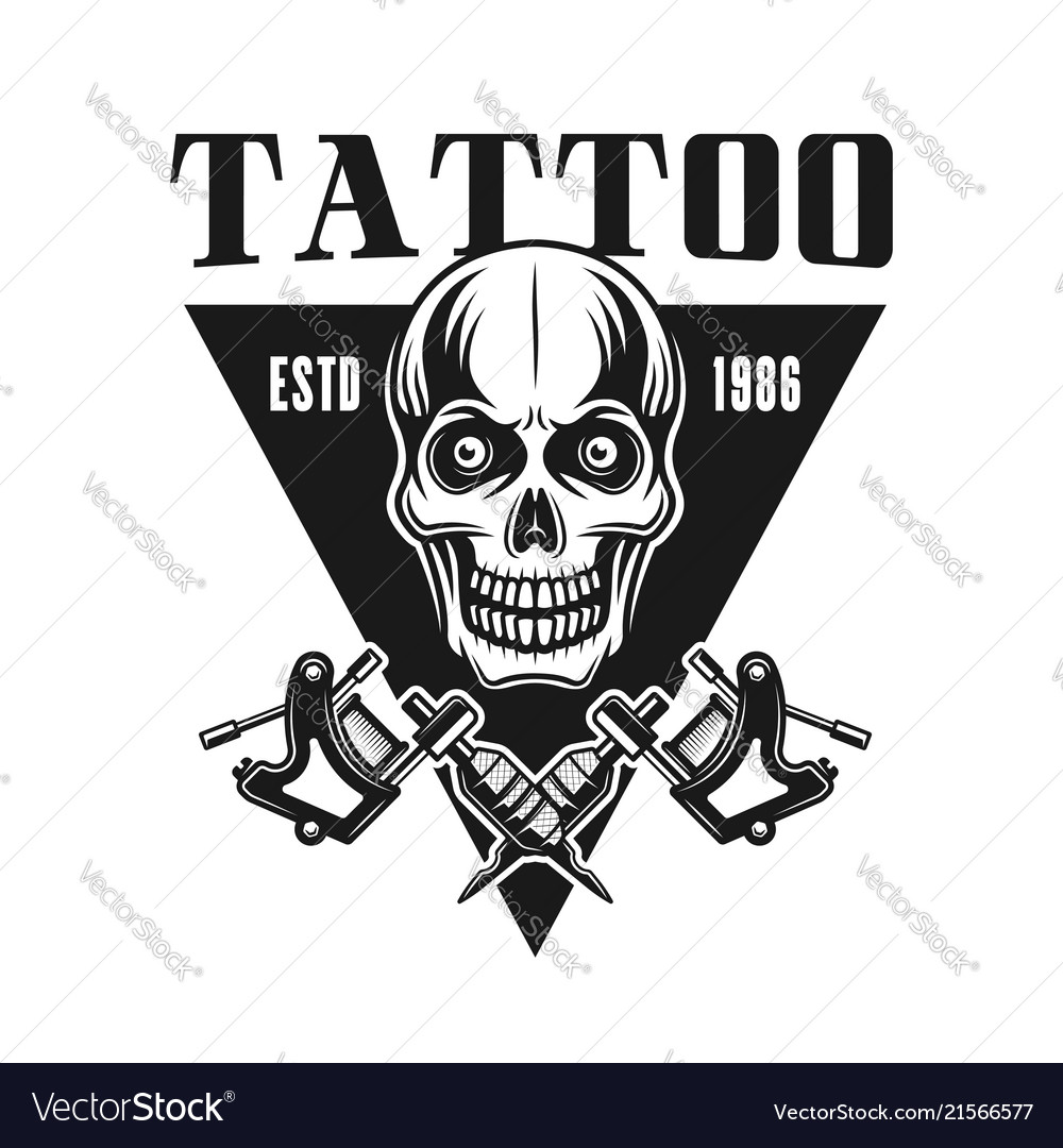 Tattoo studio emblem with skull