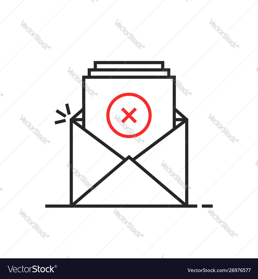 Thin line rejection email logo