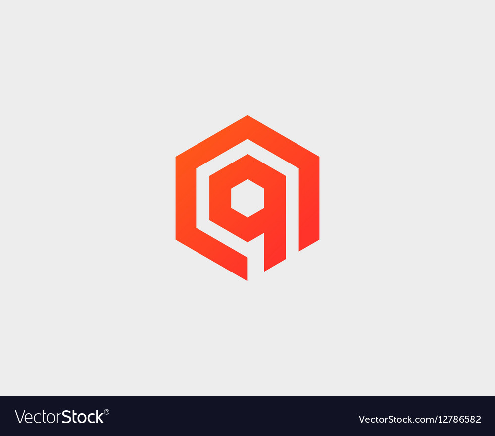 Abstract letter Q logotype Line hexagon vector image