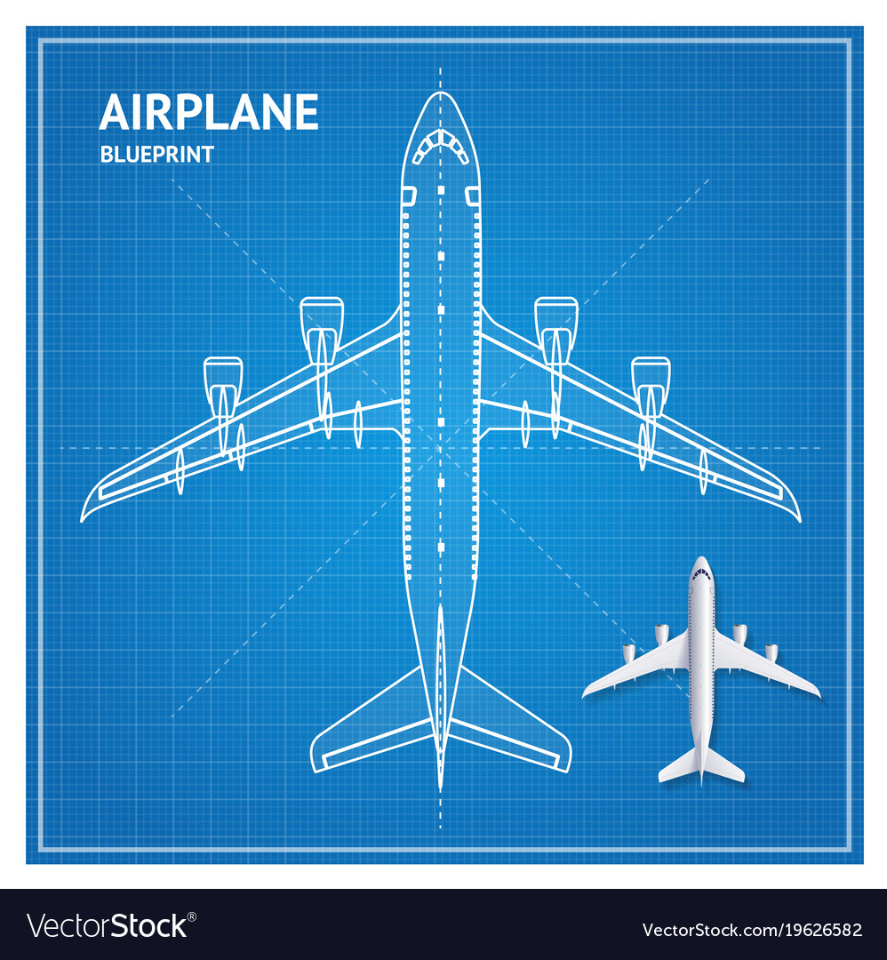 airplane blueprint plan top view royalty free vector image