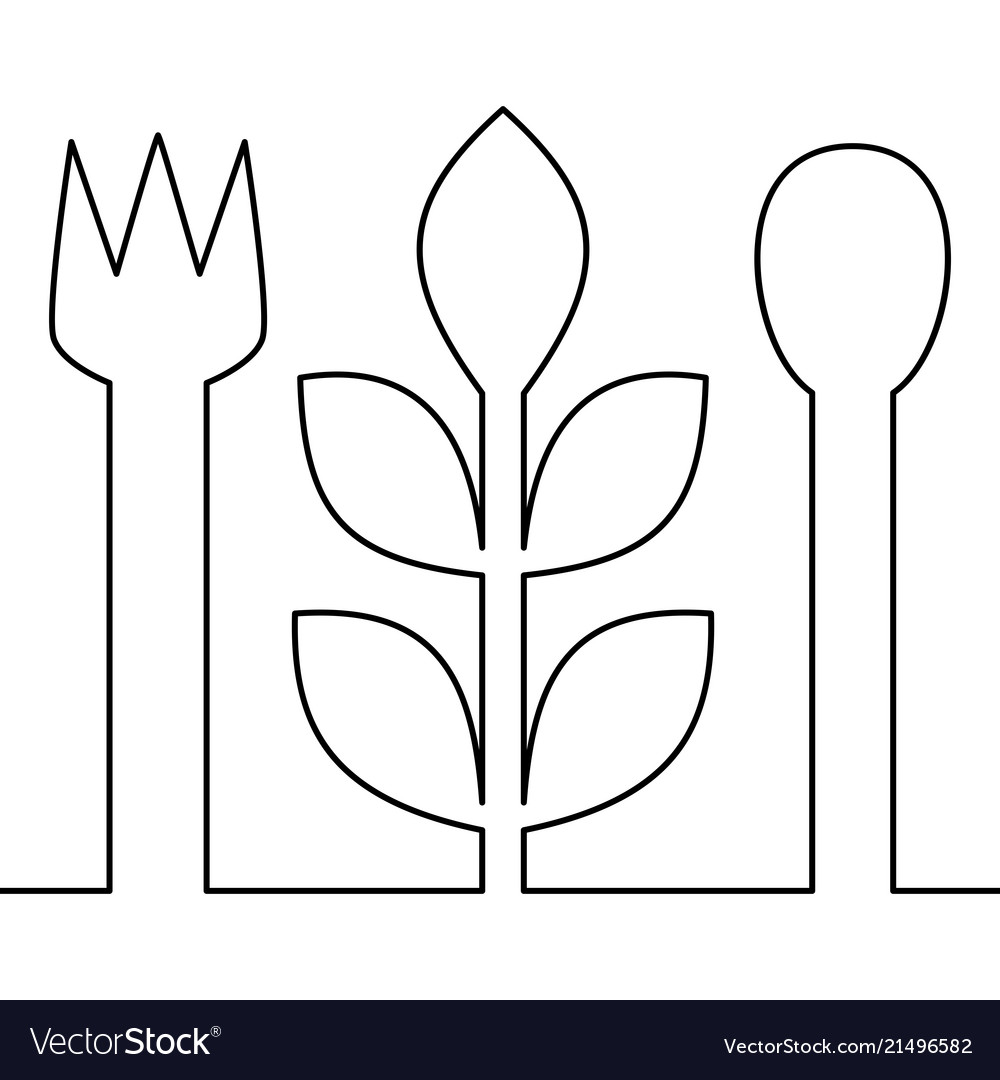 Continuous one line vegetarian food concept