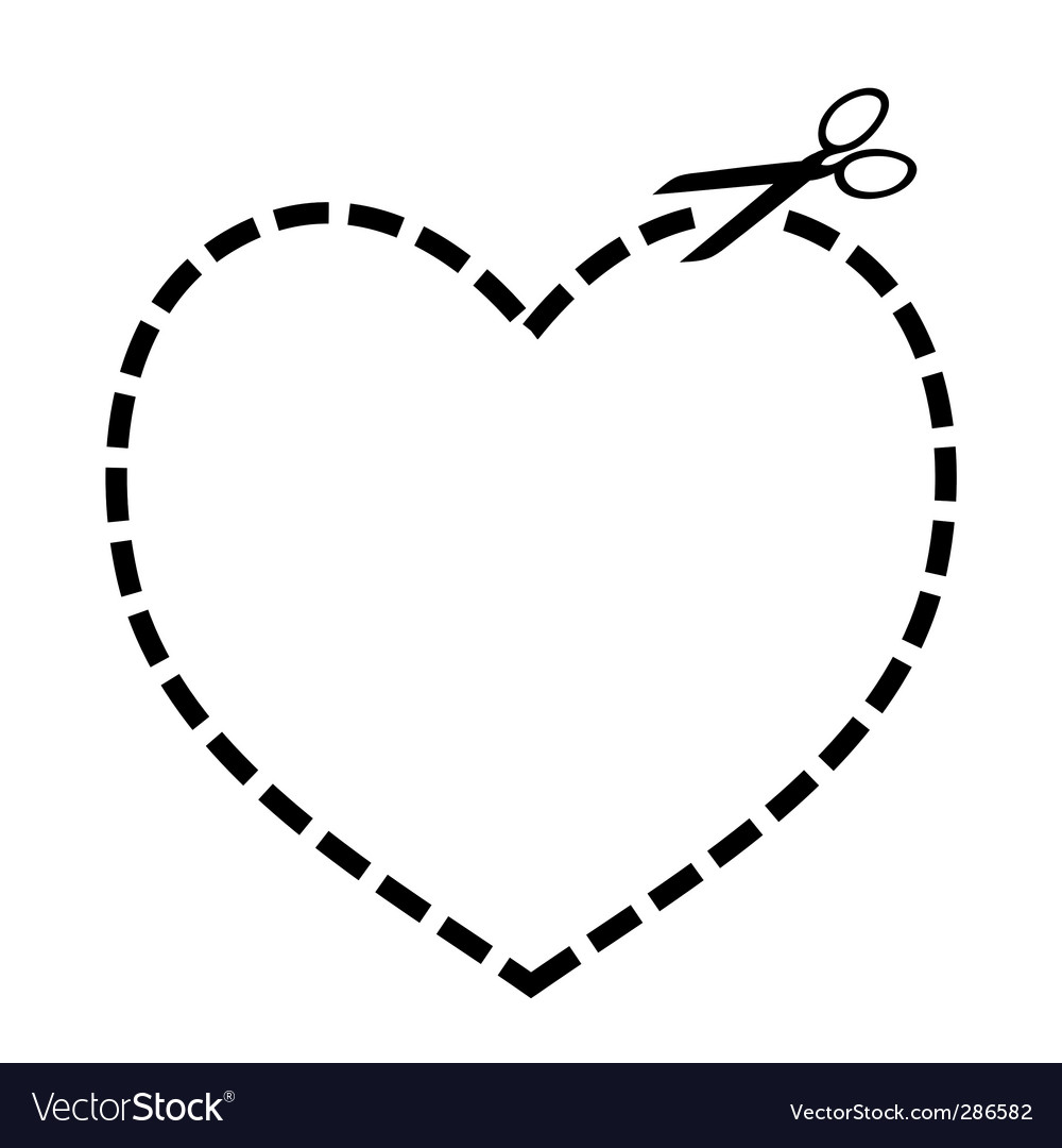 Cut Out Heart Vector Image