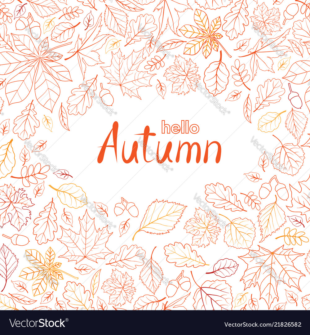 Fall leaf nature pattern with lettering hello