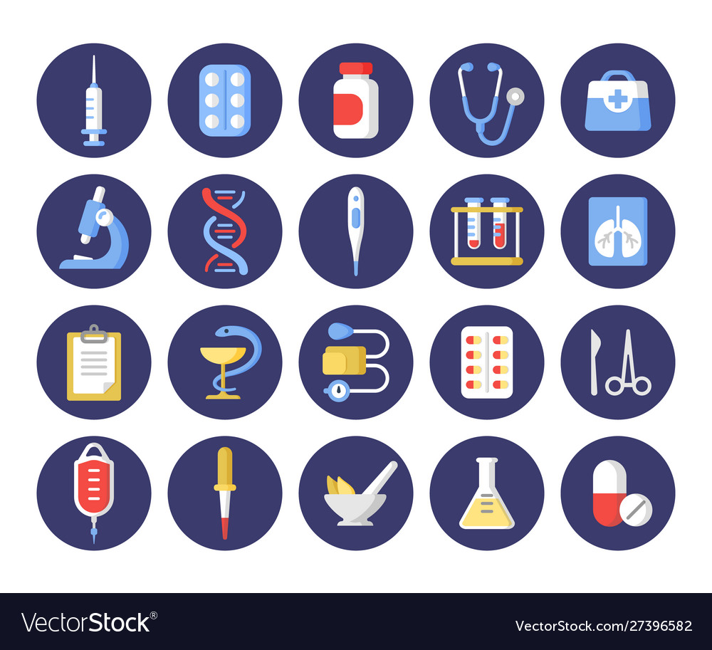 Healthcare industry round flat icons set