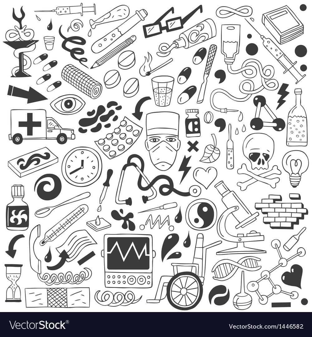 Medicine - doodles collection vector image