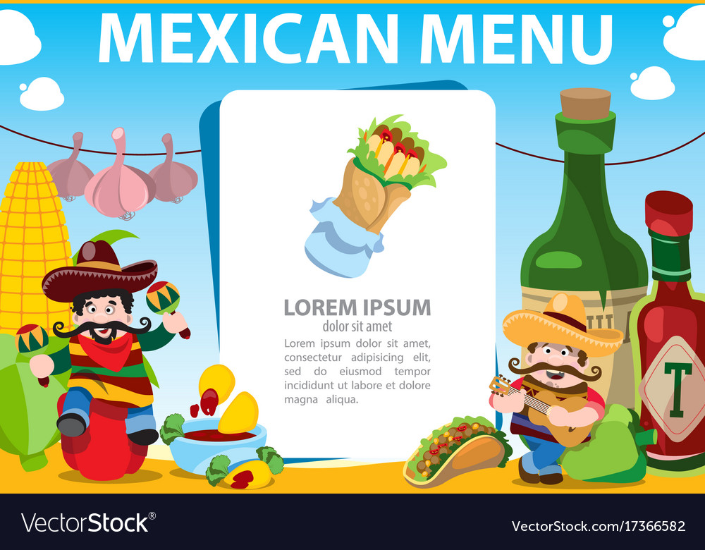mexican food menu template for restaurant or cafe vector image