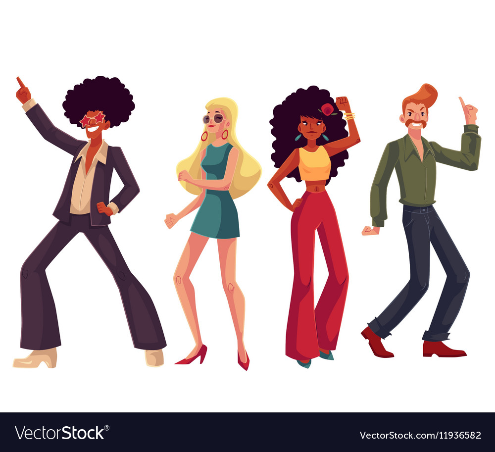 People in 1970s style clothes dancing disco