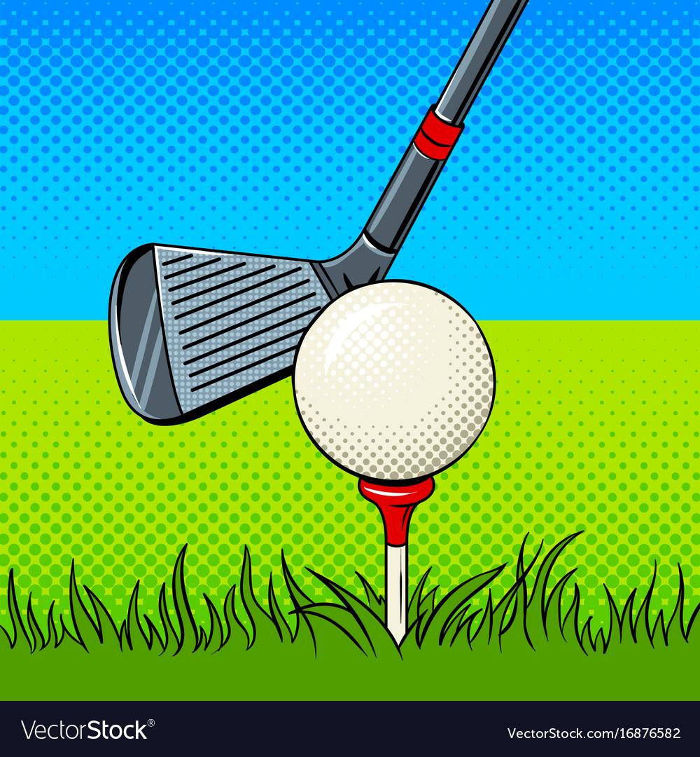 Putter and golf ball door pop art vector image