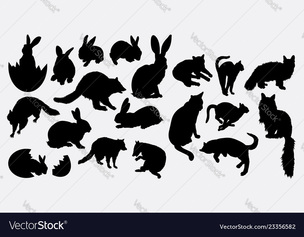 Rabbit and cat animal silhouette