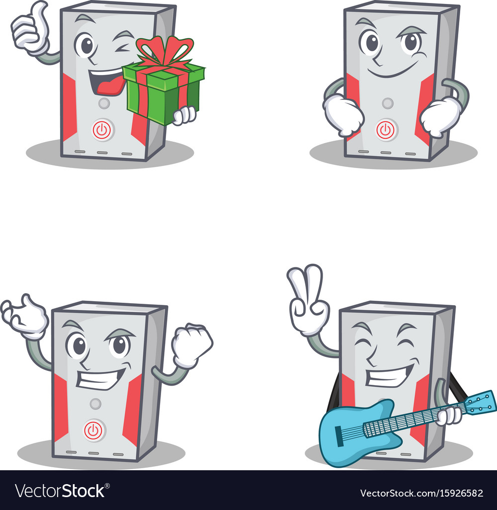 Set of computer character with gift smirking vector image