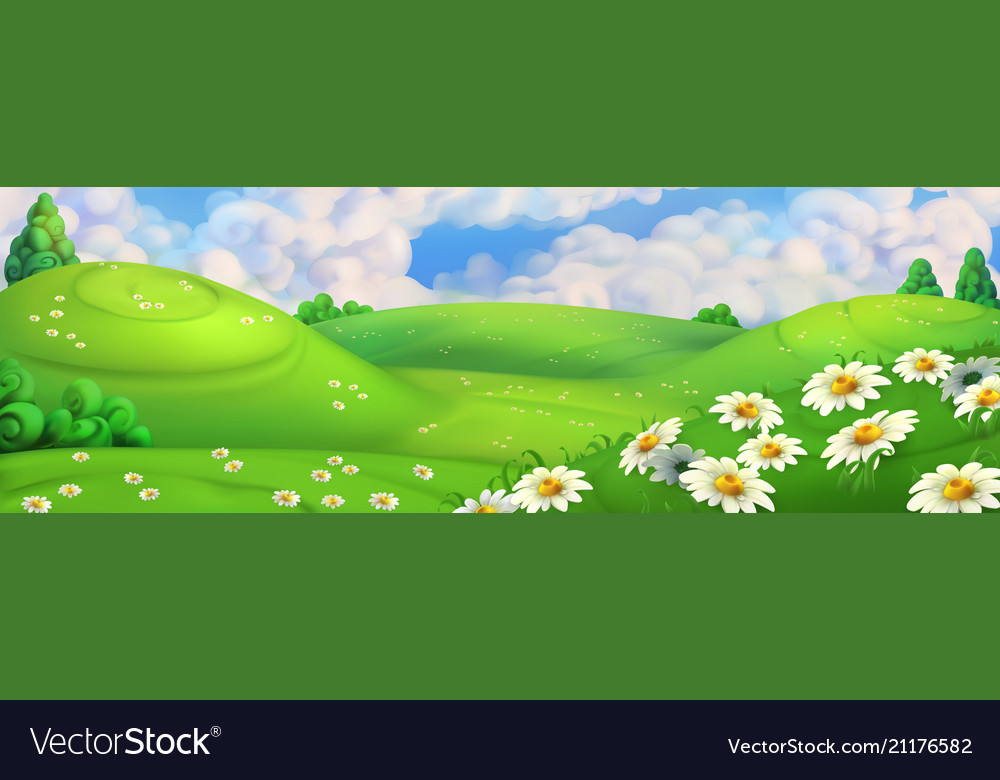 Spring background green meadow with daisies