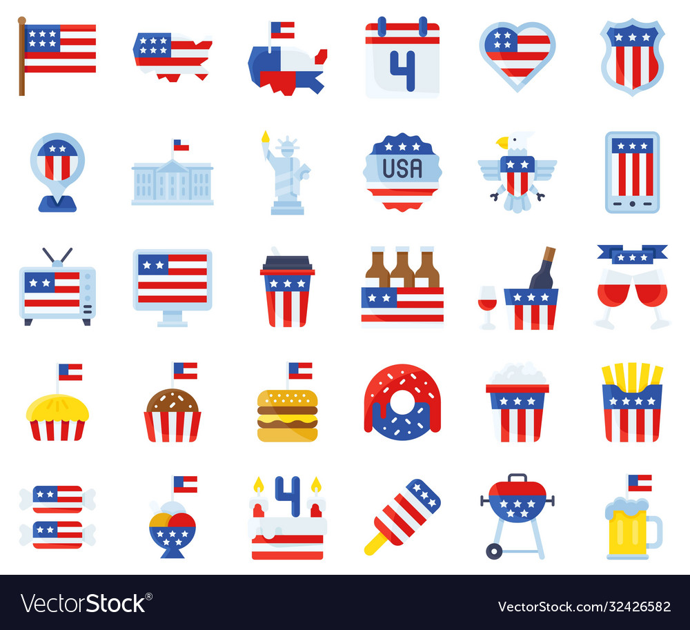 United state independence day flat icon set