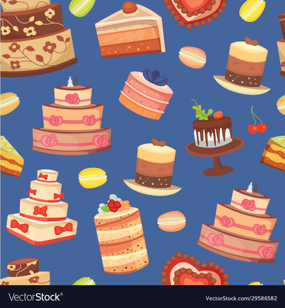 Wedding cakes seamless pattern sweet baked