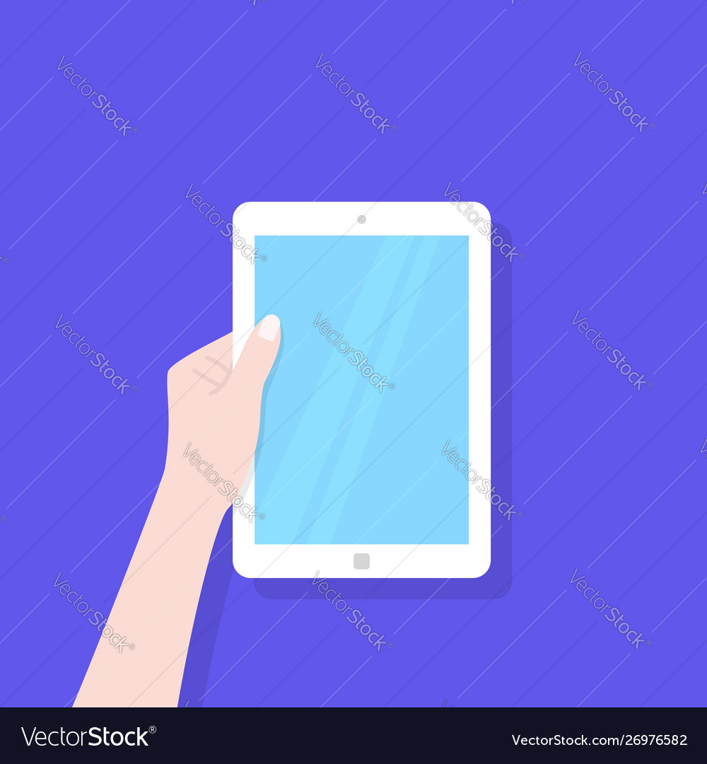 White tablet with blue screen in left hand