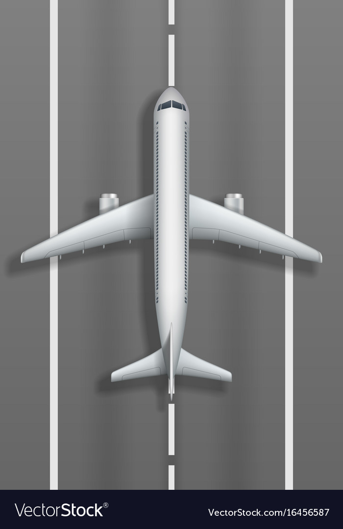 Airstrip with white airplane plane mockup top
