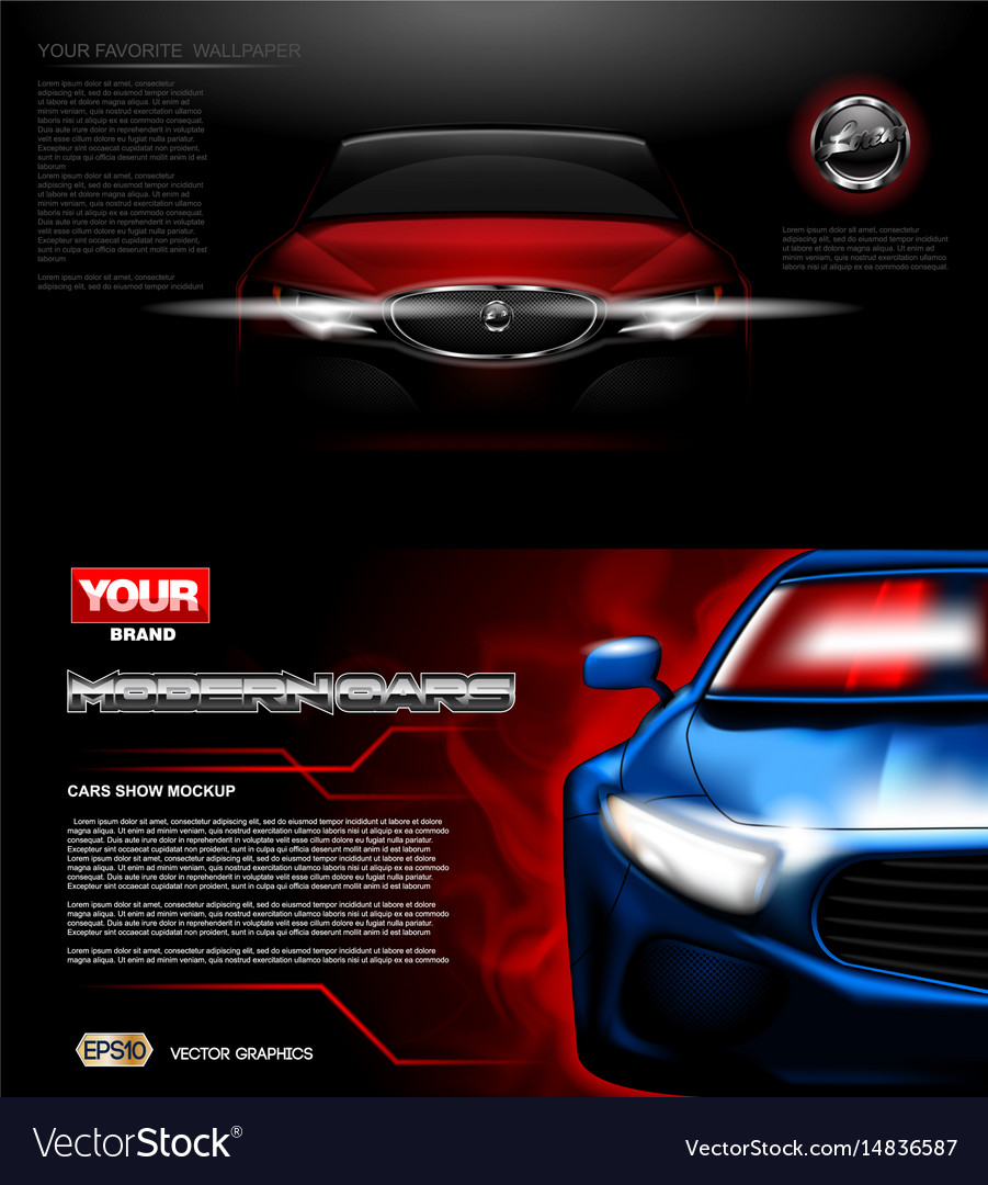 Digital red modern sport car mockup